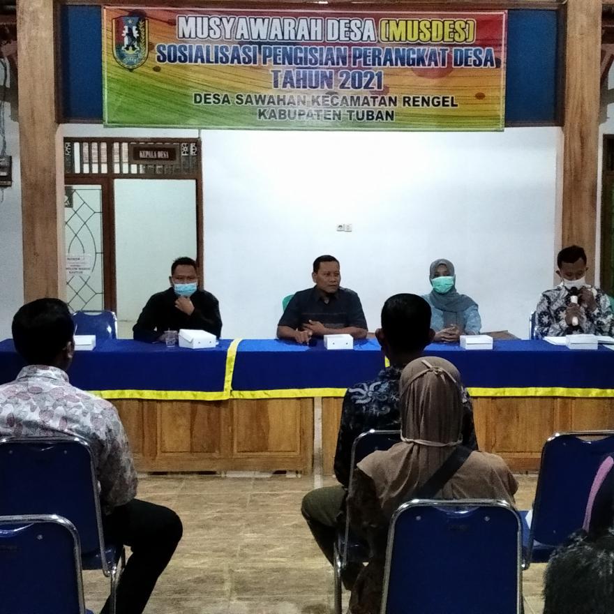 Musdes (Musyawarah Desa) Tentang sosialisasi pengisian perangkat desa tahun 2021
